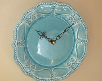 Teal Turquoise Plate Wall Clock, 8-1/4 Inch SILENT Ceramic Plate Clock, Kitchen Clock, Unique Wall Clock - 2258
