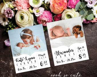 Dazzling Newborn Announcement Magnets, high quality, photo magnets, baby girl, baby boy, new baby magnet, newborn magnet + Envelopes