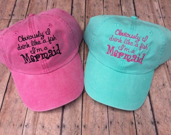 Mermaid Hat, Womens hat, monogrammed hat, monogram hat, monogrammed cap, custom, womens baseball cap, bridesmaids hats, bridesmaid gift