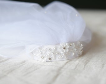 The Carina First Communion Veil in white with beaded headband