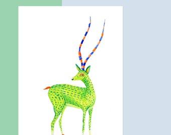 ORIGINAL 5 X 7 Oaxaca Gazelle