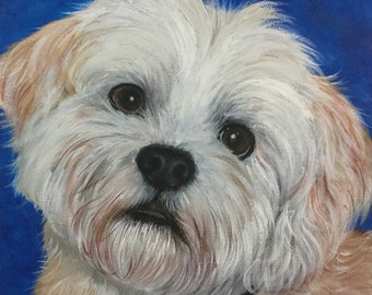 10x10  custom pet portrait painting on canvas hand painted original art from photo personalized dog gift lhasa apso shitzu