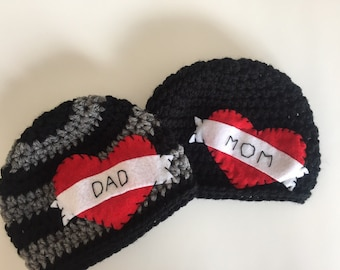 Tattoo Mom or Dad heart beanie Great Photo Prop