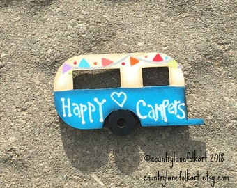 refrigerator magnets, camper magnet, happy campers, vintage camper, kitchen magnets,  painted wood camper, camper decor, blue camper
