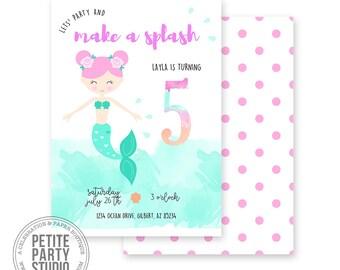 Mermaid Printable Party Invitation   Birthday or Baby Shower   Petite Party Studio
