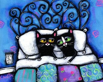 Mr. & Mrs. CAT, Folk Art home decor PRINT, whimsical cats by Krista