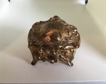 Vintage Ornate Gold Tone Jewelry Casket