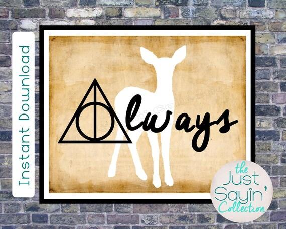 Harry Potter Always Wall Art Deathly Hallows & Doe Print