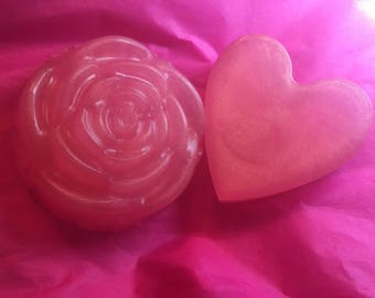 Easter basket gift etsy heart and rose soap duo glycerin soap rose gold heart soap gifts for negle Images