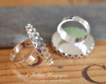 Ring round 25 mm x 10 silver lace