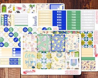 Mediterranean Summer Day Sticker Kit, Planner Stickers, Inspired By Erin Condren Planner Stickers, Happy Planner Stickers