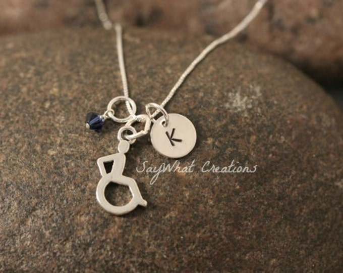 Sterling Silver Mini Initial Hand Stamped Wheel Chair or Handicap Symbol Charm Necklace