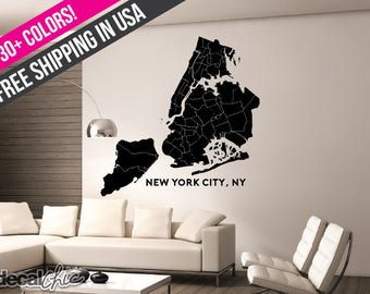 New York City, NY Map ~ 5 Boroughs ~ Wall Decal/Window Decal ~ Custom Size and Color ~ Free Shipping Within USA