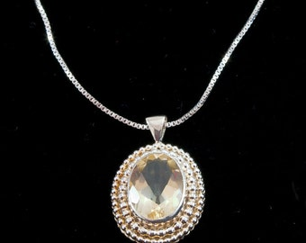 Grace Pendant Necklace - Sterling Silver & Citrine