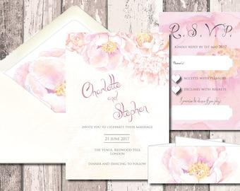 Blush Peony Wedding Invitation