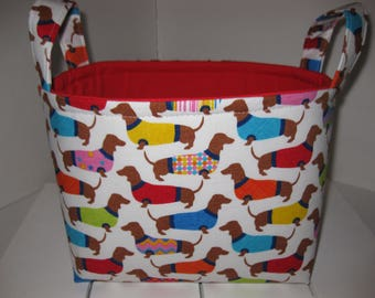 Ready to Ship! Dachshund Treat Toy Basket/ Organizer bin / Storage Fabric Basket - Personalization Available