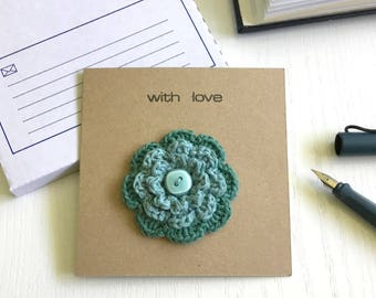 Greetings Card with Flower Brooch Eco-friendly Recycled Greetings Card Birthday Mothers Day Anniversary Small Gift