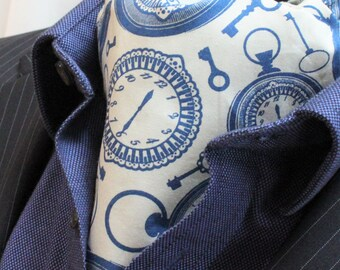 Steampunk Cravat Ascot. Cravat White Blue Keys & Clocks Match Hanky England Made