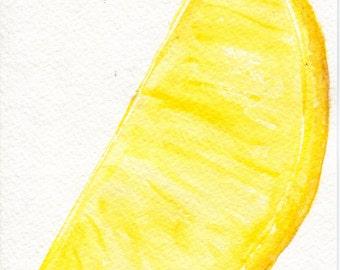 Lemon Watercolor Painting original, Citrus Fruit, Modern Minimalist 5 x 7 Lemon Art, Kitchen Decor, original watercolor painting  lemon