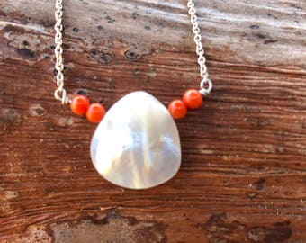 Mother of Pearl, Coral, Necklace
