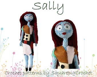 Sally crochet pattern 14'' inch, ready for halloween and chrismas!