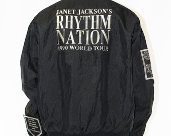 Vintage Janet Jackson 1990 Rhythm Nation World Tour Jacket Size XL