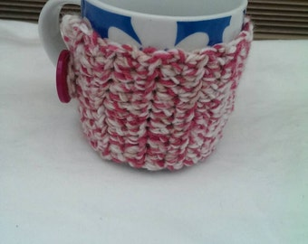 Raspberry and Brown Mug Cozy/Mug Hug