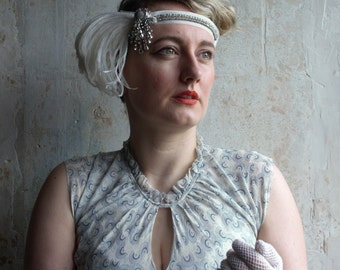 Flapper style Headband with ostrich feather plume & vintage diamane on ivory velvet ribbon  ~ 1920's ~ Great Gatsby ~ Downton Abbey ~ Bridal