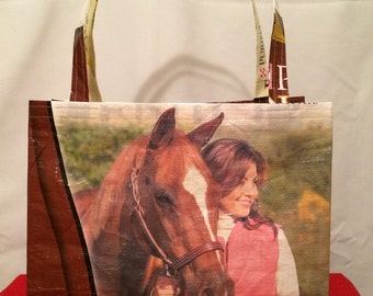 Recycled, Repurposed  Senior Equine Feed Bag Tote With Commercial Webbing Straps (Horse) GROCERY BAG, Reusable Bag, Market Tote