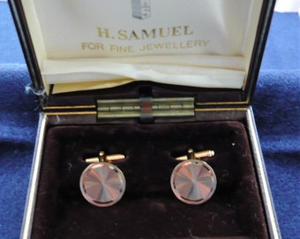 1980s Gold Tone Engine Turned Cuff Links