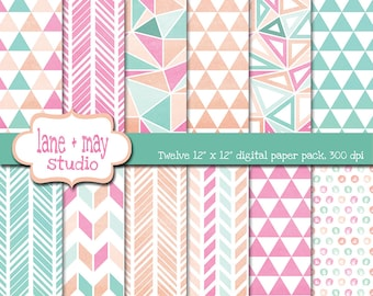 digital scrapbook papers - pink, mint green and peach watercolor geometric tribal patterns - INSTANT DOWNLOAD