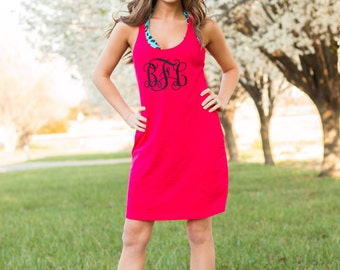 Monogram Swimsuit Cover Up | Large Monogram Dress | Racerback Tank Dress | Custom Sleep Shirt | Casual Dress | Gift for Her | Gifts under 30