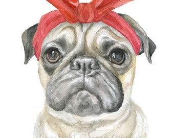 Pug with Red Bandana Watercolor Painting 8 x 10 - 8.5x11 Fine Art Giclee Reproduction - Art Print Dog Portrait
