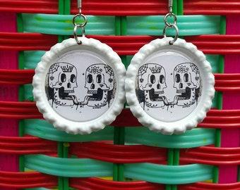 Sugar skull - dia de los muertos - bottlecap earrings - mexican art
