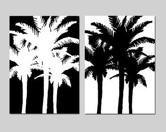 Palm Tree Duo - Set of Two 8x10 Tropical Prints - Wall Art - CHOOSE YOUR COLORS - Shown in Black and White