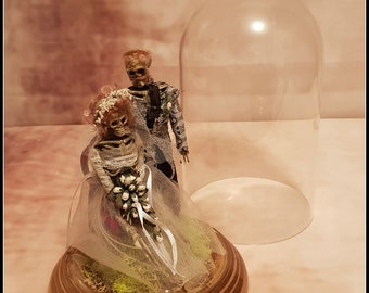 Skeleton Bride and Groom in Dome - Macabre wedding gift cake topper or curiosity cabinet piece