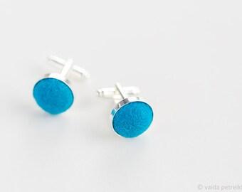 Blue cufflinks | Wool wedding anniversary gift for him | Minimalist cufflinks | Unisex gift | Groom's accessory | Wedding silver set