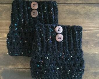 Black fleck crocheted boot cuffs