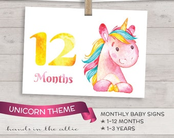 DIY baby photo props, monthly baby photo signs - UNICORN picture props for babies, months and years - printable and DIGITAL download