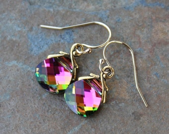 Northern Lights Crystal Gold Earrings - Sparkly pink, green, gold briolette color changing Swarovski crystals - free shipping in USA