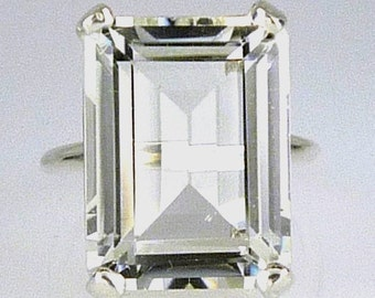 Natural Large White Topaz Emerald Cut Ring,  .925 Sterling Silver, 18x13MM - 18.45 Carats