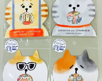 Japanese Flake Stickers / Seal bits - Gorogoro Nyansuke Collection (Lazy Cat) Series at your choice