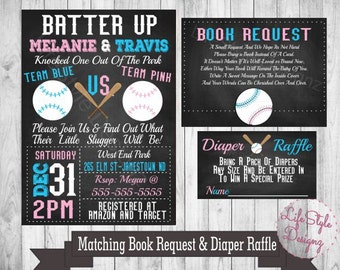 Baseball Gender Reveal Invitation-Batter Up Party Invite- Pink or Blue - He or She - Sports- Printable-Diaper Raffle-Book Request
