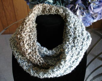 Blue/Tan/Taupe Cowl Scarf, Infinity Scarf, Crocheted Scarf, Winter Scarf