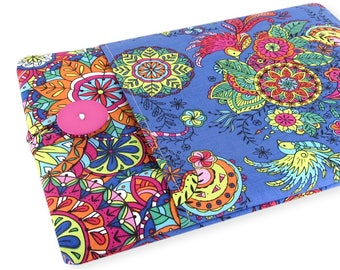 """Women's Laptop Sleeve 15.6"""" - Custom Sized To Your 15 Inch Laptop - Padded With Pocket, Bird Flower Fabric"""