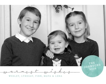 Warmet Wishes Printable 5x7 Christmas Card with Photos