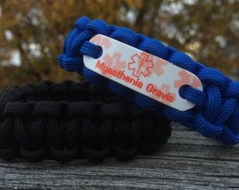 Alert Bracelet for Myasthenia Gravis, Medical ID in any stock cord color, Waterproof lead & nickel free bracelets
