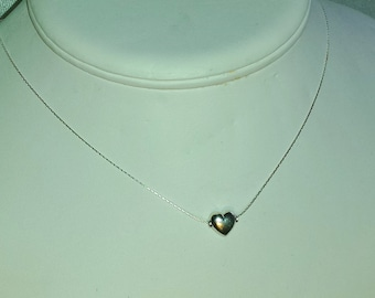 Petite Sterling Floating Heart Necklace