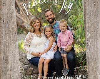 Peace and Joy Holiday Photo Card- Digital