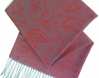 Metallic red and emerald paisley scarf